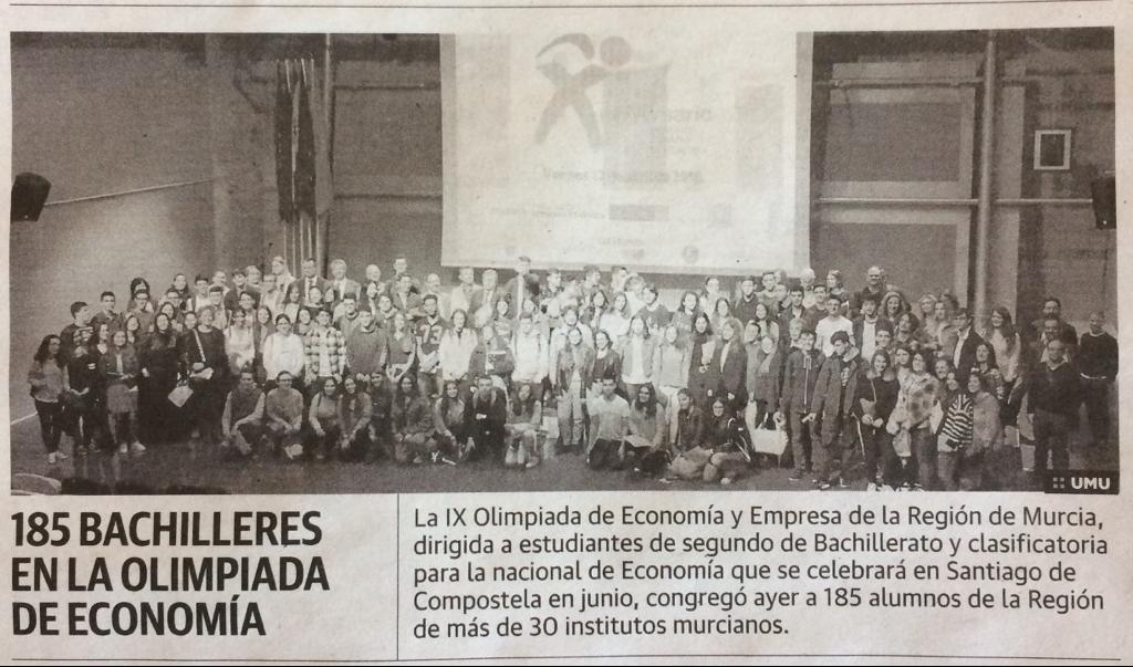 Participantes en la IX Olimpiada de Economía y Empresa de la UMU 2018